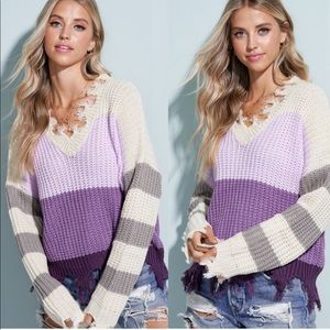 Lavinder color block distressed chunky sweater